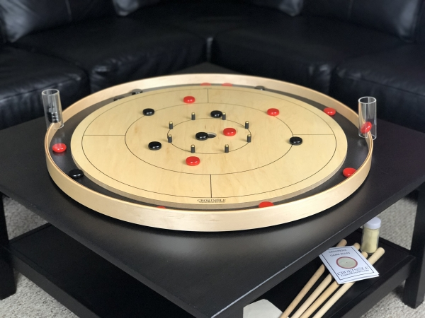 Black Tracey Tour Crokinole Board with Black Buttons and Red Buttons by Crokinole Game Boards