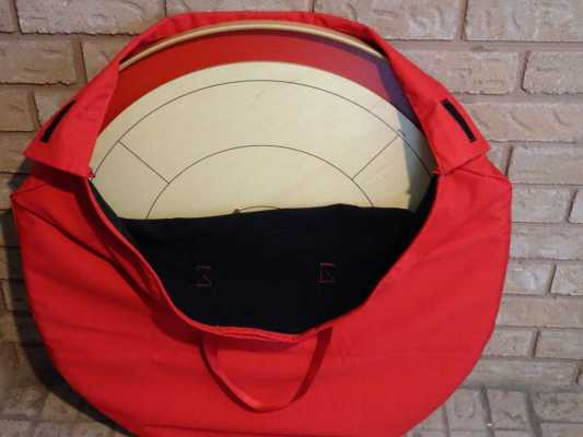 Crokinole Carrying Bag Open by Crokinole Game Boards