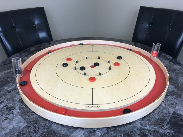 Crokinole Game with Black Buttons and Red Buttons (Far) - Crokinole Game Boards