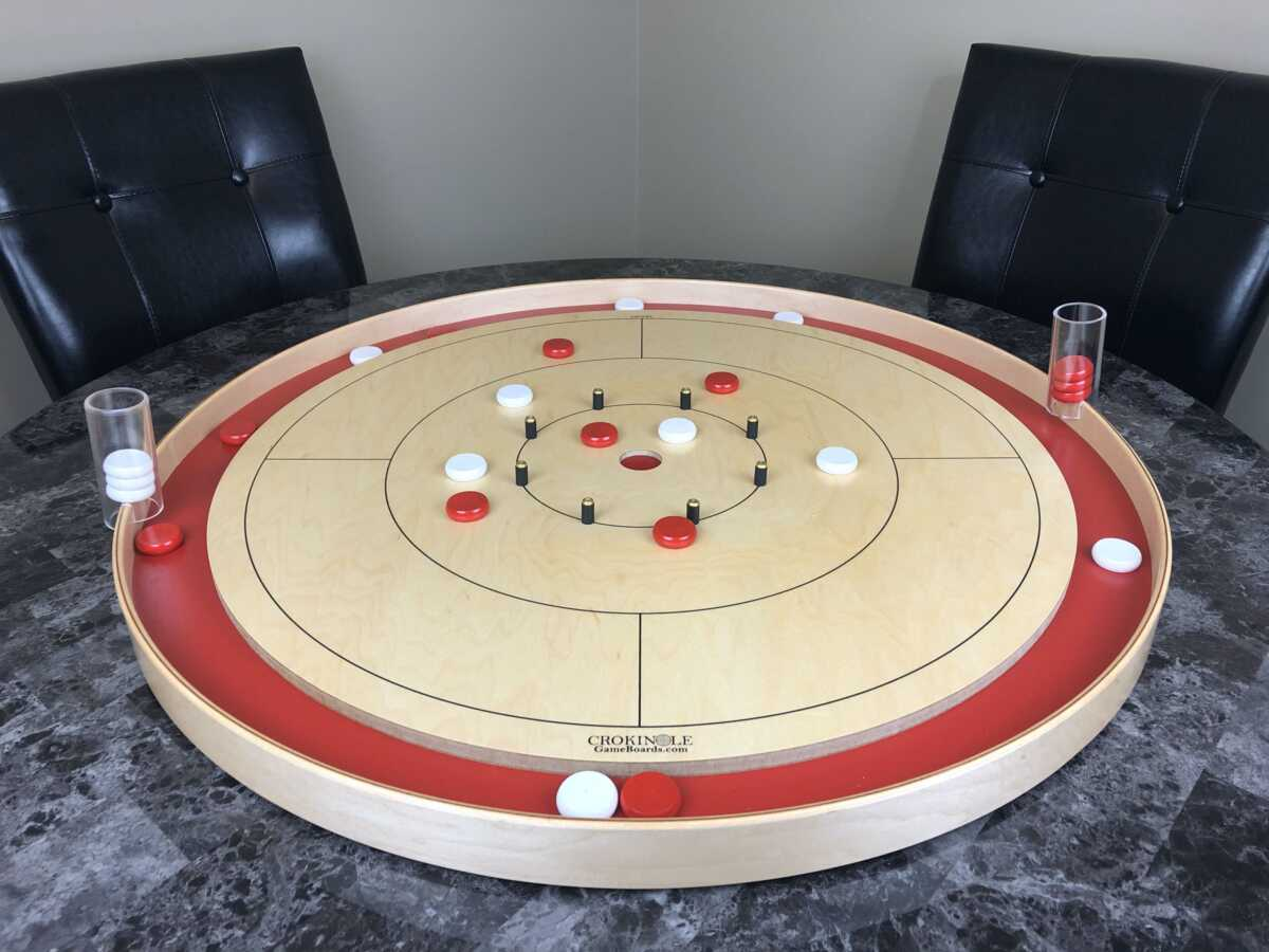 Crokinole Game with Red Buttons and White Buttons (Far) - Crokinole Game Boards