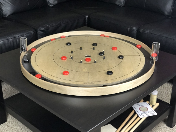 Grey Rock Tracey Tour Crokinole Board with Black Buttons and Red Buttons by Crokinole Game Boards