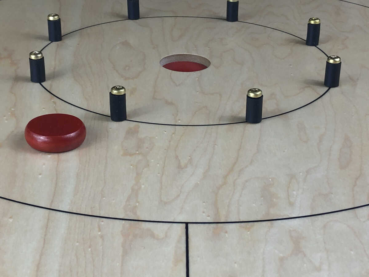 Red Crokinole Button (Close) Panorama - Crokinole Game Boards