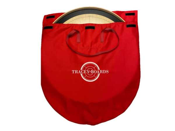 Red Crokinole Carrying Bag with a Crokinole Board by Crokinole Game Boards