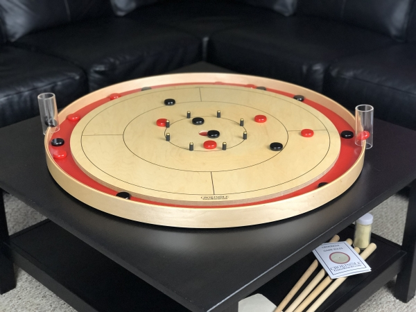 Red Tracey Tour Crokinole Board with Black Buttons and Red Buttons by Crokinole Game Boards