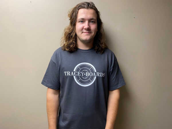 Tracey Boards T-Shirt (Charcoal Grey) from Crokinole Game Boards