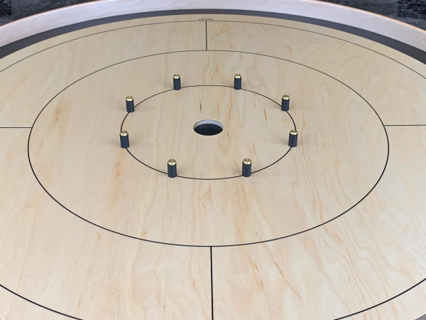 Tracey Tour Crokinole Board (Black Edition Closeup) by Crokinole Game Boards