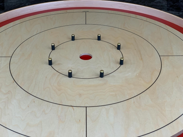 Tracey Tour Crokinole Board (Red Edition Closeup) by Crokinole Game Boards