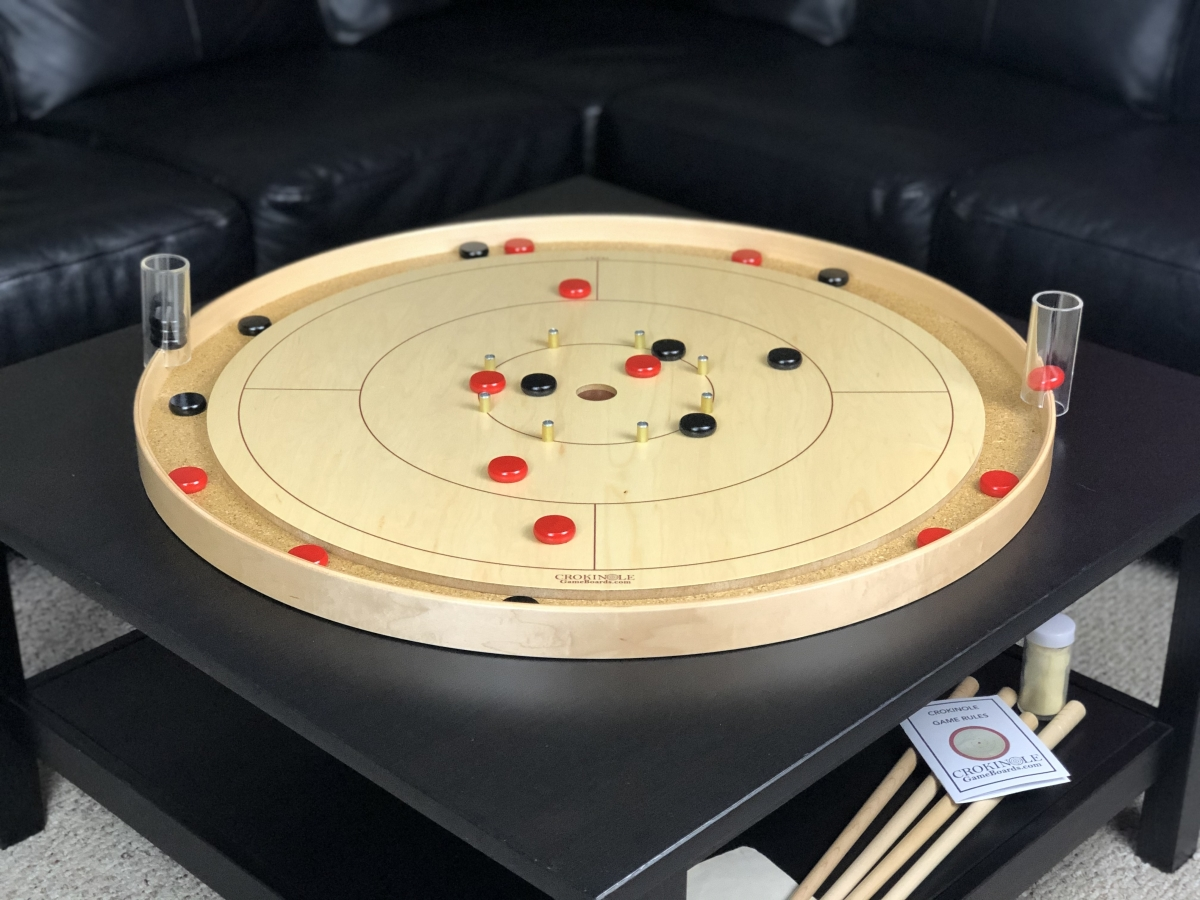 Tracey Traditional Crokinole Board with Black Buttons and Red Buttons by Crokinole Game Boards
