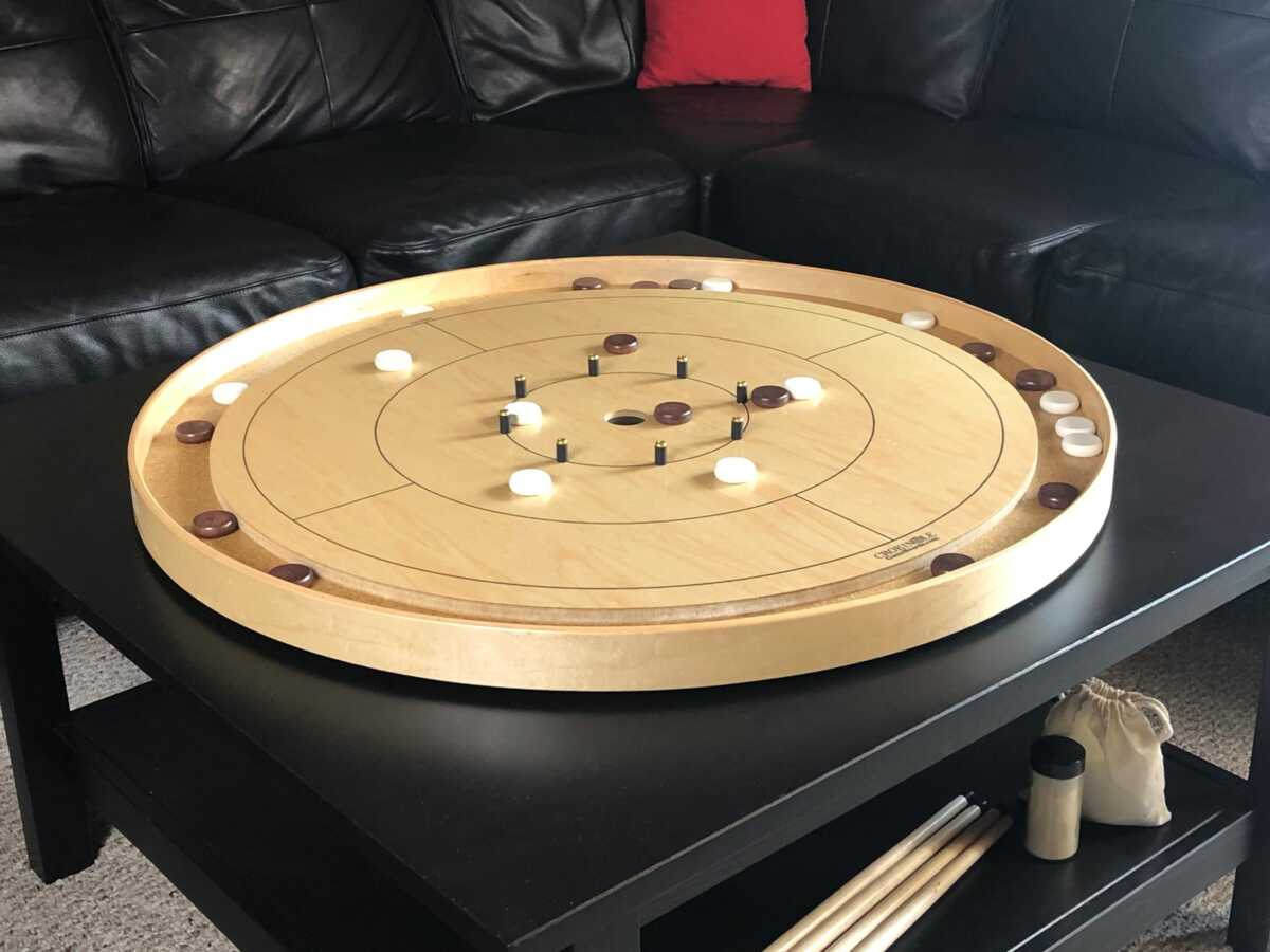 Traditional Tracey Tour Crokinole Board with Dark Stained Buttons and White Buttons by Crokinole Game Boards