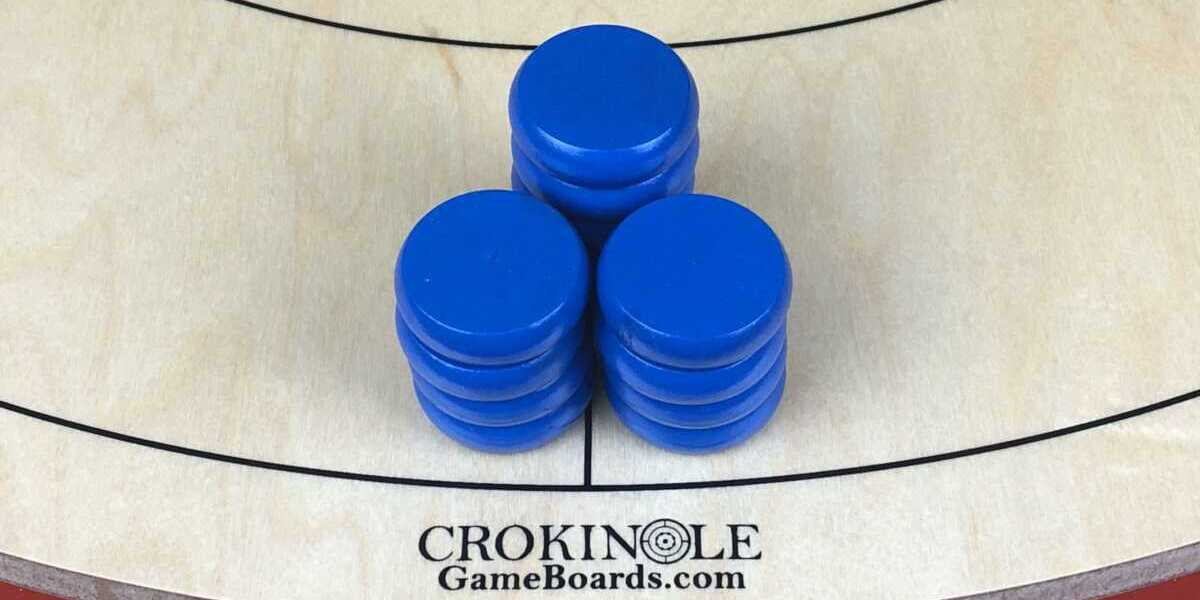 Blue Crokinole Button (Far) Panorama - Crokinole Game Boards