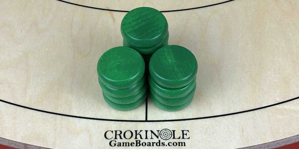 Green Crokinole Buttons (Close) Logo - Crokinole Game Boards