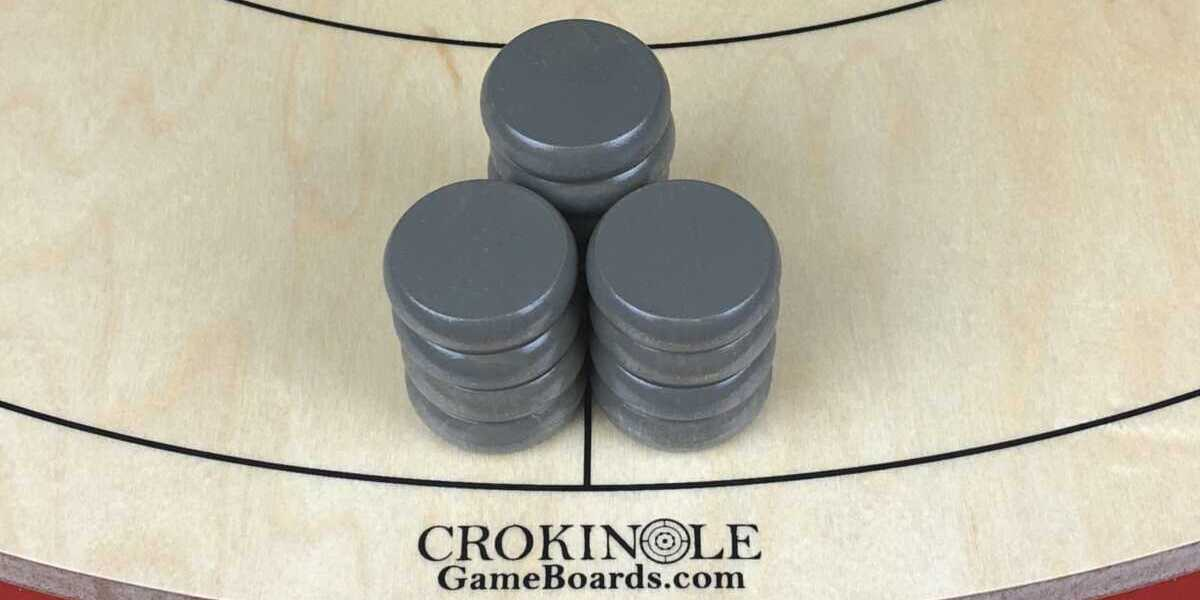 Grey Crokinole Buttons (Close) Logo - Crokinole Game Boards
