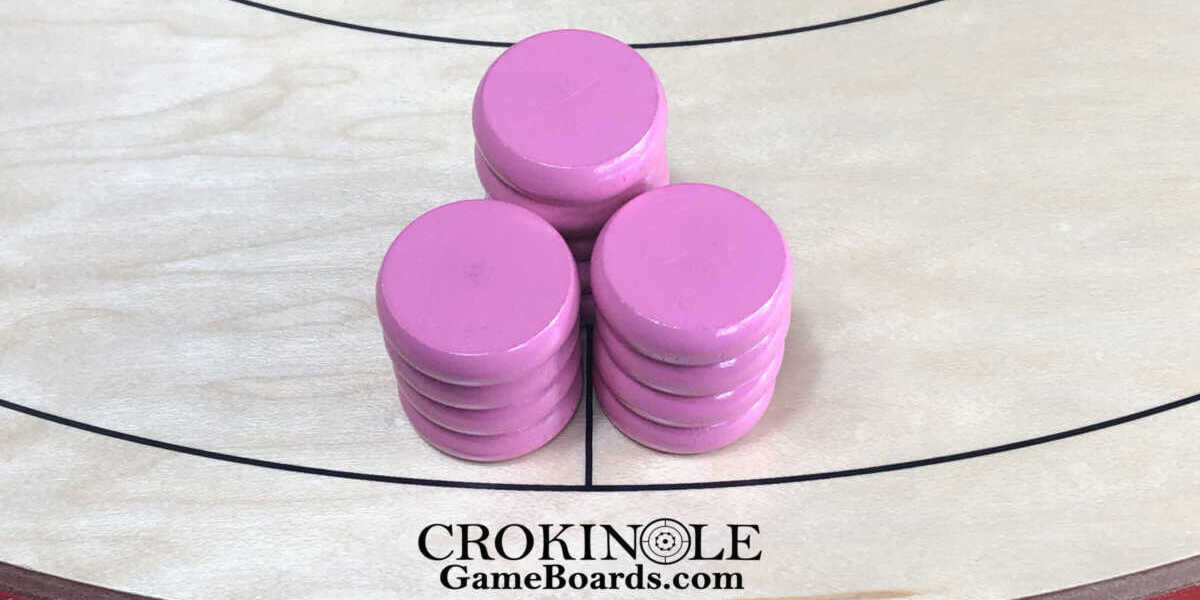Pink Crokinole Buttons (Close) Logo - Crokinole Game Boards