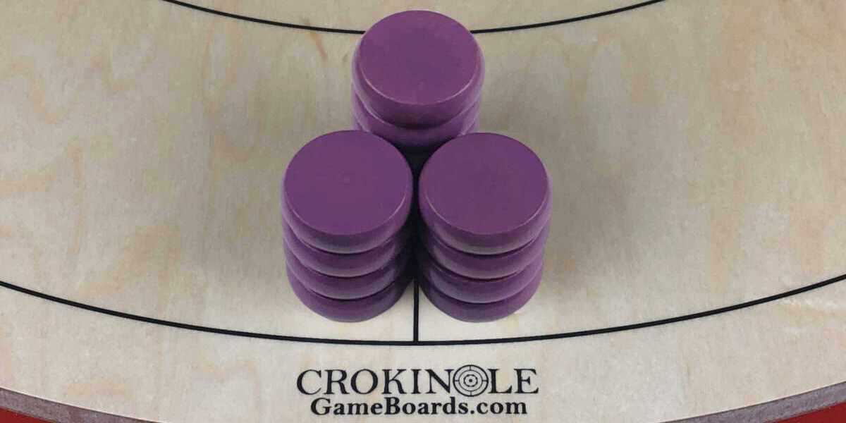 Purple Crokinole Buttons (Close) Logo - Crokinole Game Boards