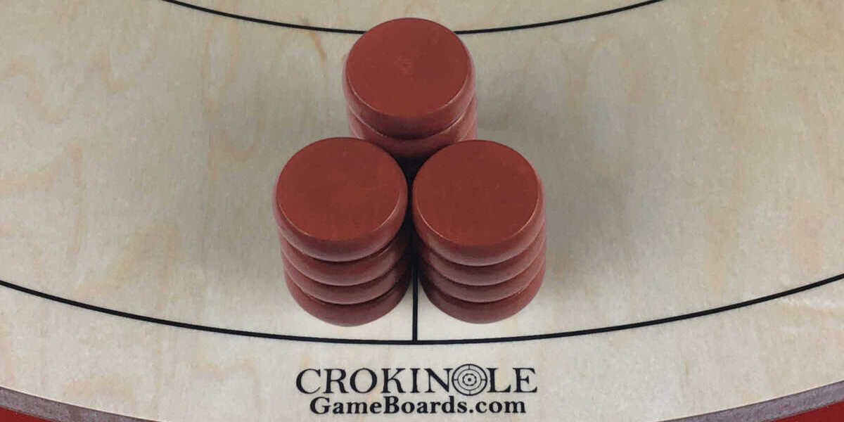 Red Crokinole Buttons (Close) Logo - Crokinole Game Boards