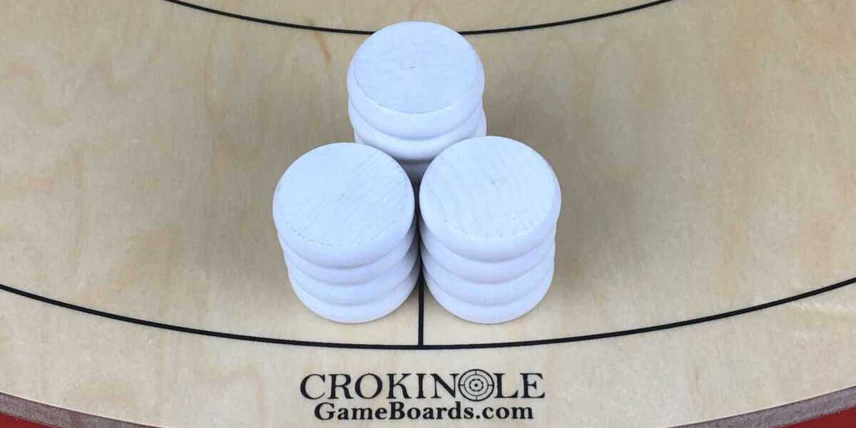 White Crokinole Buttons (Close) Logo - Crokinole Game Boards