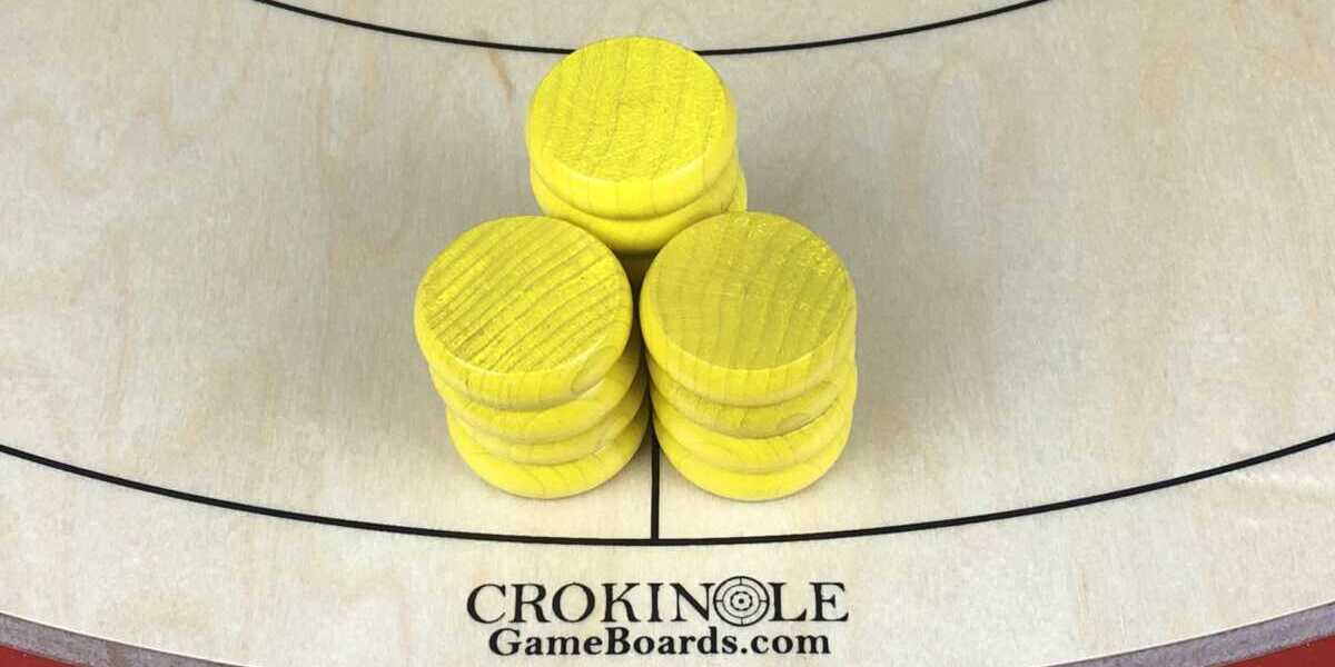 Yellow Crokinole Buttons (Close) Logo - Crokinole Game Boards