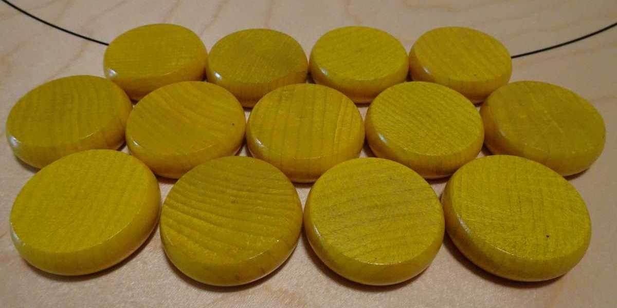 Yellow Crokinole Buttons by Crokinole Game Boards
